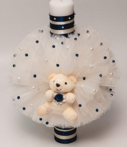 Lumanare botez albastra cu ursulet